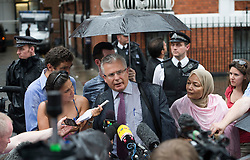 © Licensed to London News Pictures. 19/08/2012. Julian Assange's legal adviser, Baltasar Garzon speaking to the media before Wikileaks founder Julian Assange speaks from a balcony at The Ecuador Embassy in London on August 19/08/2012. Assange, who faces arrest by British police if he leaves the building, took refuge in the embassy on June 19 to evade extradition to Sweden where he is wanted for questioning over alleged sexual misconduct. Photo credit : Ben Cawthra/LNP