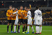 Both sets of players prepare for a corner during the Europa League match between Wolverhampton Wanderers and Slovan Bratislava at Molineux, Wolverhampton, England on 7 November 2019.