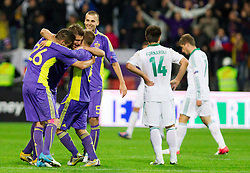 Players of Maribor celebrate after the football match between NK Maribor and Panathinaikos Athens F.C. (GRE) in 1st Round of Group Stage of UEFA Europa league 2013, on September 20, 2012 in Stadium Ljudski vrt, Maribor, Slovenia. Maribor defeated Panathinaikos 3-0. (Photo By Vid Ponikvar / Sportida)