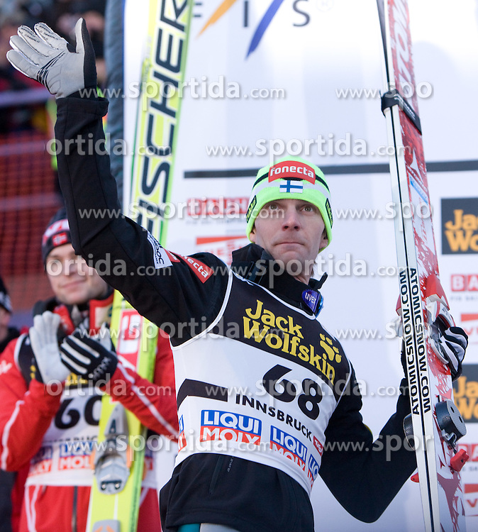 Third placed Janne Ahonen of Finland at the medal ceremony after he competed in the Final Round of the FIS Ski Jumping World Cup event of the 58th Four Hills ski jumping tournament, on January 3, 2010 in Bergisel, Innsbruck, Austria.(Photo by Vid Ponikvar / Sportida)