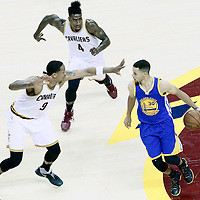 08 June 2016: Golden State Warriors guard Stephen Curry (30) drives past Cleveland Cavaliers forward Channing Frye (9) and Cleveland Cavaliers guard Iman Shumpert (4) during the Cleveland Cavaliers 120-90 victory over the Golden State Warriors, during Game Three of the 2016 NBA Finals at the Quicken Loans Arena, Cleveland, Ohio, USA.