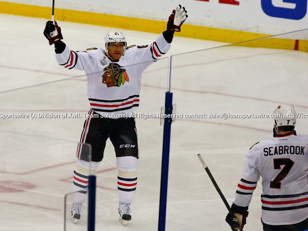 June 06 2015: Chicago's Marian Hossa (81) congratulates teammate Brent Seabrook (7) after Seabrook's third period goal in game two of the 2015 Stanley Cup Finals between the Chicago Blackhawks and the Tampa Bay Lightning at Amalie Arena in Tampa, Florida.