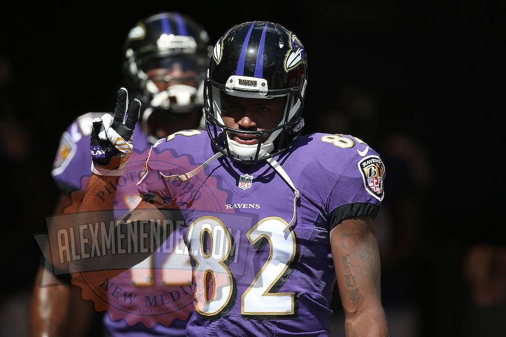 TAMPA, FL - OCTOBER 12:  Wide receiver Torrey Smith #82 of the Baltimore Ravens enters the field during an NFL football game at Raymond James Stadium on October 12, 2014 in Tampa, Florida. (Photo by Alex Menendez/Getty Images) *** Local Caption *** Torrey Smith