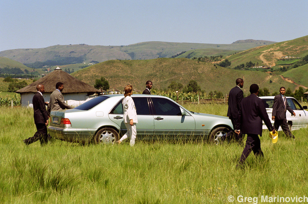 Nelson Mandela makes a visit to the former Transkei homeland, now Eastern cape, where he was born,  24 February 1999