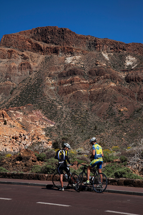Bicyclists, Teide national park, Tenerife.