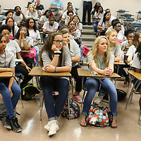 A group of high school students attending AP summer prep courses at Mississippi State listen as Yale Physice Professor Dr. Meg Urry explains Black holes during a video-conference on Monday in Starkville.