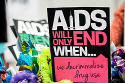Campaign sign in the Global Village at AIDS 2016.