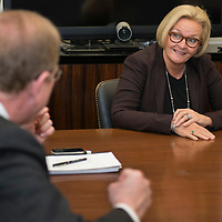 U.S. Senator Claire McCaskill (D-MO) during a meeting her her Washington, DC office on April 16, 2015.