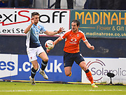 Luton Town player Danny Hylton looks to steal the ball during the first half  during the EFL Sky Bet League 2 play off second leg match between Luton Town and Blackpool at Kenilworth Road, Luton, England on 18 May 2017. Photo by Ian  Muir.