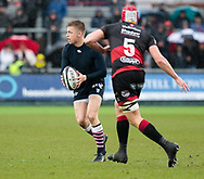 Cardiff Blues' Gareth Anscombe plays on despite having his shirt removed<br /> <br /> Photographer Simon King/Replay Images<br /> <br /> Guinness Pro14 Round 11 - Dragons v Cardiff Blues - Tuesday 26th December 2017 - Rodney Parade - Newport<br /> <br /> World Copyright &copy; 2017 Replay Images. All rights reserved. info@replayimages.co.uk - www.replayimages.co.uk