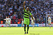 Forest Green Rovers Dale Bennett(6) gives the thumbs up to supporters just before kick off during the Vanarama National League Play Off Final match between Tranmere Rovers and Forest Green Rovers at Wembley Stadium, London, England on 14 May 2017. Photo by Shane Healey.