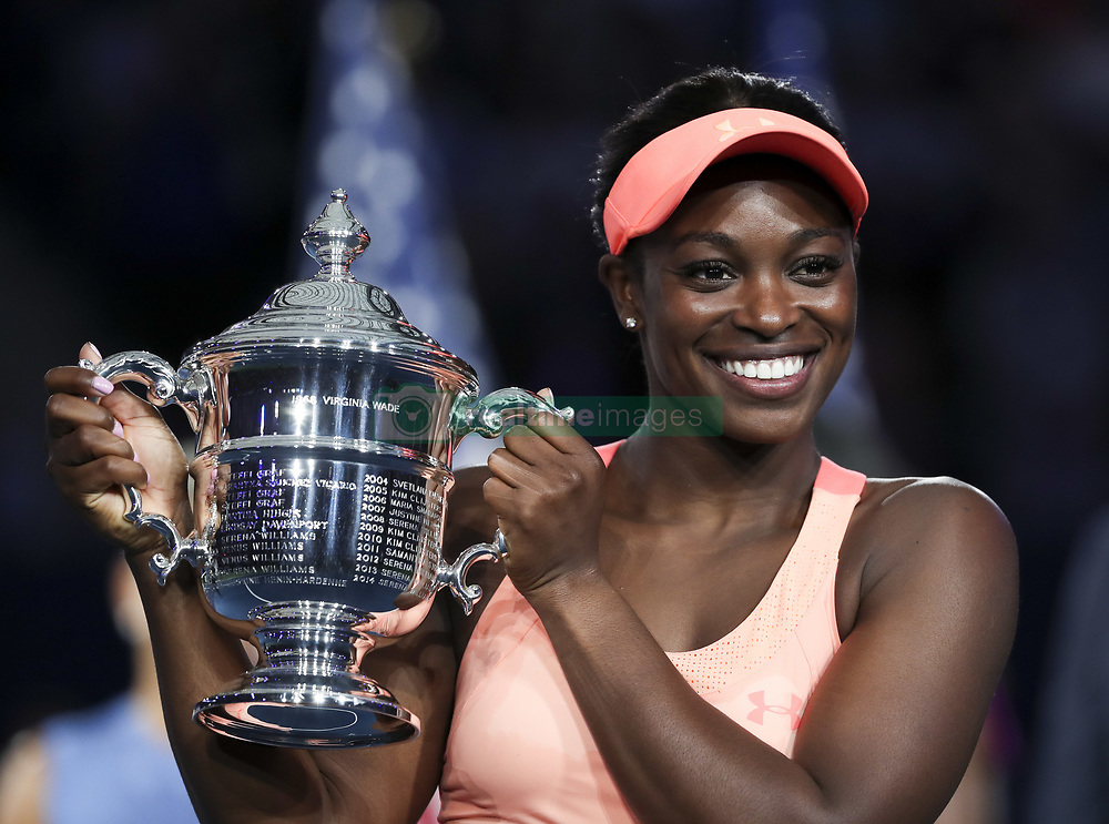 NEW YORK, Sept. 10, 2017  Sloane Stephens of the United States holds the trophy during the awarding ceremony after winning the women's singles final match against Madison Keys of the United States at the 2017 US Open in New York, the United States, Sept. 9, 2017. Sloane Stephens won 2-0 to claim the title. (Credit Image: © Wang Ying/Xinhua via ZUMA Wire)