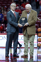 05 November 2017:  MVC Commisioner Doug Elgin and ISU Athletics Director Larry Lyons present the couragous award to Steve Adams during a Lewis College Flyers and Illinois State Redbirds in Redbird Arena, Normal IL