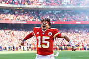 Kansas City Chiefs quarterback Patrick Mahomes fires up the fans before the start of an NFL, AFC Championship football game against the Tennessee Titans, Sunday, Jan. 19, 2020, in Kansas City, MO. The Chiefs won 35-24 to advance to Super Bowl 54. Photography by Colin Eric Braley Photography