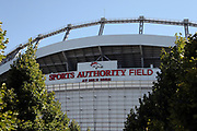 Trees flank the name of the stadium in this wide angle, general view photograph taken of Sports Authority Field at Mile High stadium before the Denver Broncos 2016 NFL week 1 regular season football game against the Carolina Panthers on Thursday, Sept. 8, 2016 in Denver. The Broncos won the game 21-20. (©Paul Anthony Spinelli)