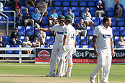 50 - Chris Wright acknowledges the crowd on reaching 50during the Specsavers County Champ Div 2 match between Glamorgan County Cricket Club and Leicestershire County Cricket Club at the SWALEC Stadium, Cardiff, United Kingdom on 18 September 2019.