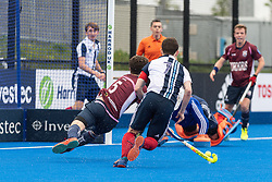 Wimbledon's Peter Friend scores. Wimbledon v Hampstead & Westminster - Men's Hockey League Finals, Lee Valley Hockey & Tennis Centre, London, UK on 28 April 2018. Photo: Simon Parker
