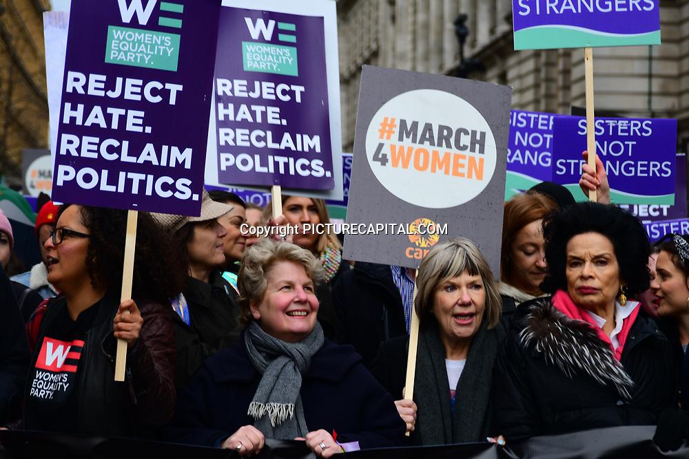 Sandi Toksvig, Bianca Jagger join March4Women 2020, on 8 March 2020, London, UK