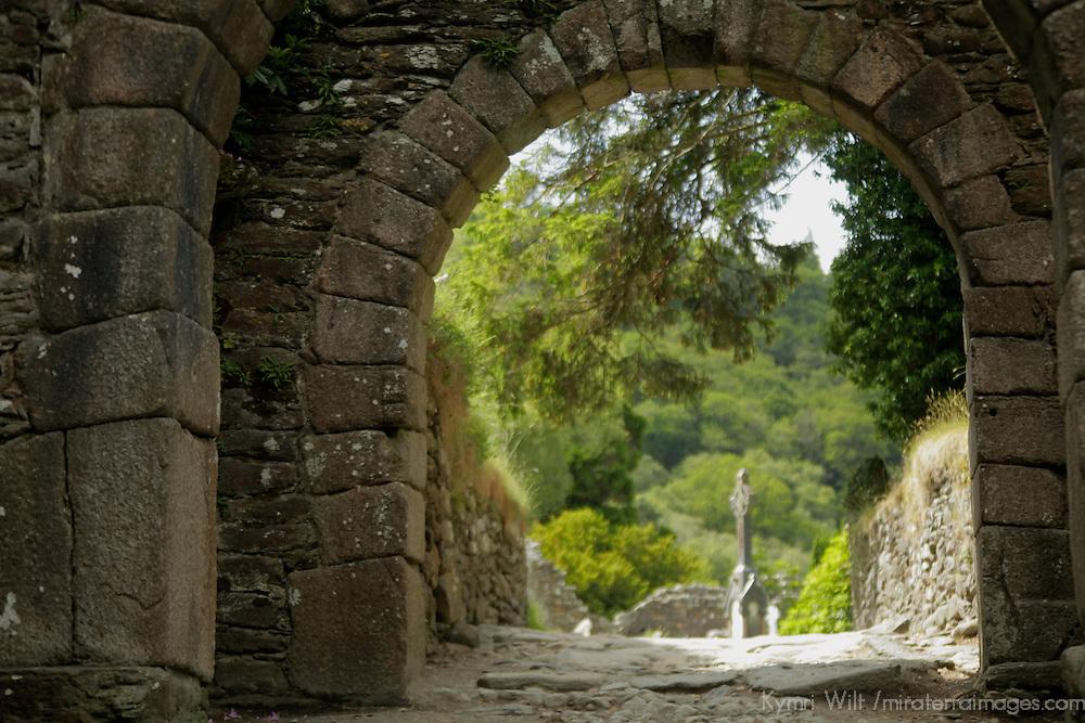 Europe, Ireland, Glendalough. Gateway at Glendalough.