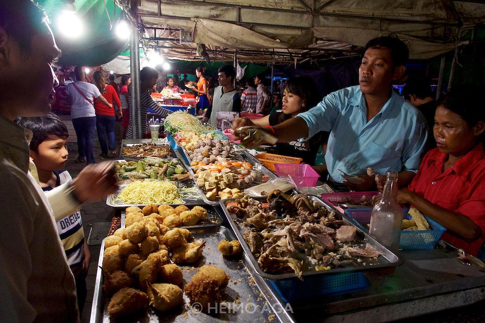 Phnom Penh, Cambodia. Night Market. Snacks.
