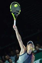 SINGAPORE, Oct. 23, 2017  Caroline Wozniacki of Denmark competes during the group match against Elina Svitolina of Ukraine at WTA Finals tennis tournament in Singapore, Oct. 23, 2017. (Credit Image: © Then Chih Wey/Xinhua via ZUMA Wire)