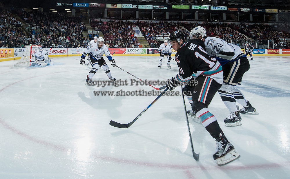 KELOWNA, CANADA - OCTOBER 9: Dillon Dube #19 of Kelowna Rockets skates into the offensive zone against the Victoria Royals on OCTOBER 9, 2015 at Prospera Place in Kelowna, British Columbia, Canada.  (Photo by Marissa Baecker/Shoot the Breeze)  *** Local Caption *** Dillon Dube;