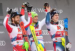 26.01.2020, Streif, Kitzbühel, AUT, FIS Weltcup Ski Alpin, Slalom, Herren, Siegerehrung, im Bild v.l. Marco Schwarz (AUT, 2. Platz), Daniel Yule (SUI, 1. Platz), Clement Noel (FRA, 3. Platz) // f.l. second placed Marco Schwarz of Austria race winner Daniel Yule of Switzerland third placed Clement Noel of France during the winner ceremony for the men's Slalom of FIS Ski Alpine World Cup at the Streif in Kitzbühel, Austria on 2020/01/26. EXPA Pictures © 2020, PhotoCredit: EXPA/ Johann Groder