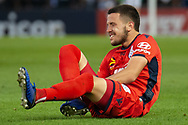 Adelaide United forward Apostolos Stamatelopoulos (33) gets fouled on at the Hyundai A-League Round 7 soccer match between Melbourne Victory v Adelaide United at Marvel Stadium in Melbourne, Australia.