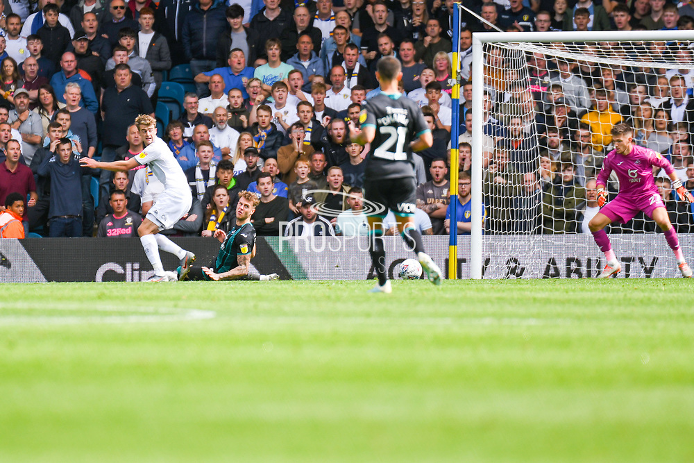 Leeds United forward Patrick Bamford (9) reacts during the EFL Sky Bet Championship match between Leeds United and Swansea City at Elland Road, Leeds, England on 31 August 2019.