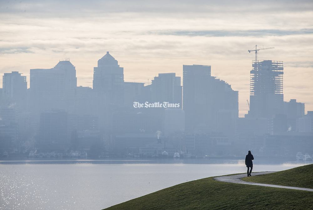 A woman walks on Kite Hill at Gas Works park as morning fog slowly begins to clear. (Lindsey Wasson / The Seattle Times)