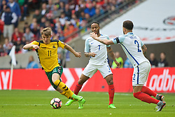 LONDON, ENGLAND - Sunday, March 26, 2017: Lithuania's Arvydas Novikovas in action against Lithuania during the 2018 FIFA World Cup Qualifying Group F match at Wembley Stadium. (Pic by Lexie Lin/Propaganda)