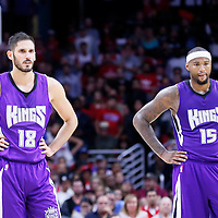 02 November 2014: Sacramento Kings forward Omri Casspi (18) is seen next to Sacramento Kings center DeMarcus Cousins (15) during the Sacramento Kings 98-92 victory over the Los Angeles Clippers, at the Staples Center, Los Angeles, California, USA.