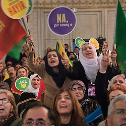 People attend the launch of the No campaign of the People's Democratic Party (HDP), in Istanbul, Turkey on March 2, 2017.<br /> On April 16, 2017, Turkish citizens will vote on proposed changes on the constitution that could replace the current parliamentary government system with a presidential one.