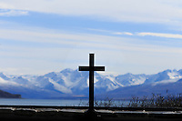 The view from the front window of the Church of Good Shepherd in Tekapo, New Zealand
