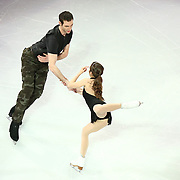 Marissa Castelli and Simon Shnapir are seen during the Smucker's Skating Spectacular at the TD Garden on January 12, 2014 in Boston, Massachusetts.