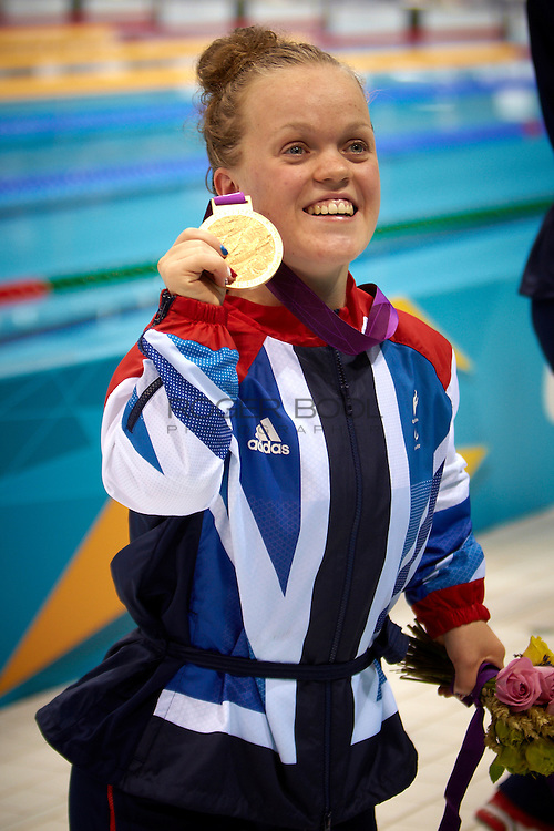 Ellie Simmonds of Great Britain collects gold, Verena Schott of Germany takes Silver and Natalie Jones of Great Britain bronze for the Women's 200 meter Individual Medley SM6 Final at the Aquatics Centre on day 5 of the London 2012 Paralympic Games. 3rd September 2012.