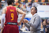 Spain coach Sergio Scariolo talking with Sergi Vidal during FIBA European Qualifiers to World Cup 2019 between Spain and Slovenia at Coliseum Burgos in Madrid, Spain. November 26, 2017. (ALTERPHOTOS/Borja B.Hojas)