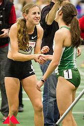 Womens Invitational Mile at BU Terrier Indoor Track; Mary cain congratulates Abbey D'Agostino after race