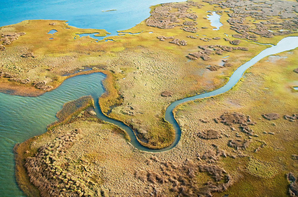 an aerial photograph of the tidal marshes behind Cape Lookout National Seashore along the Outer Banks of North Carolina