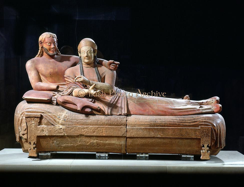 Etruscan art. Sarcophagus with reclining couple, Ceveteri Italy 6th century BC: painted terracotta. Louvre, Paris
