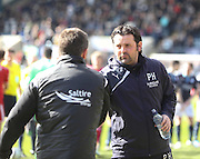 Dundee manager Paul Hartley shakes hands with Aberdeen boss Derek McInnes - Dundee v Aberdeen, SPFL Premiership at Dens Park<br /> <br />  - &copy; David Young - www.davidyoungphoto.co.uk - email: davidyoungphoto@gmail.com