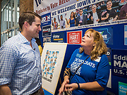 17 AUGUST 2019 - DES MOINES, IOWA: Representative SETH MOULTON (D-MA), left, talks to a Democratic activist at the Iowa State Fair Saturday.  Moulton, a US Marine veteran who served in Iraq, is running to be the Democratic candidate for the US Presidency in 2020 and spent Saturday campaigning at the fair. Iowa traditionally hosts the the first selection event of the presidential election cycle. The Iowa Caucuses will be on Feb. 3, 2020.         PHOTO BY JACK KURTZ