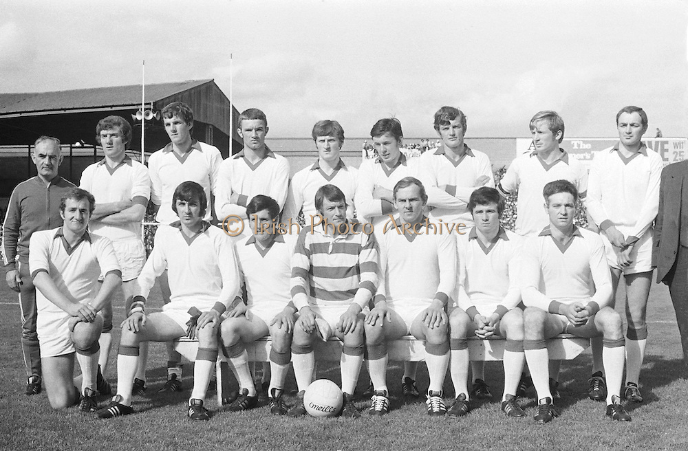 All Ireland Senior Football Championship Final, Cork v Galway, 23.09.1973, 09.23.1973, 23rd September 1973, Cork 3-17 Galway 2-13, 23091973AISFCF, ..Picture shows the Cork team which won the sam McGuire Cup by beating Galway in the Final at Croke Park, .Cork, W Morgan (capt), F Cogan, H Kelleher, B Murphy (Nemo Rangers), K J O'Sullivan, J Coleman, C Hartnett, D Long, D Coughlan, E Kirby, D Barron, D McCarthy, J Barry Murphy, R Cummins, J Barrett, Subs, S Coughlan for J Coleman, D Hunt for McCarthy, M Scannell for D Kelleher,