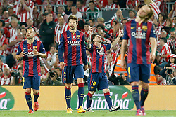 30.05.2015, Camp Nou, Barcelona, ESP, Copa del Rey, Athletic Club Bilbao vs FC Barcelona, Finale, im Bild FC Barcelona's Leo Messi celebrates goal in presence of Jordi Alba, Gerard Pique and Ivan Rakitic // during the final match of spanish king's cup between Athletic Club Bilbao and Barcelona FC at Camp Nou in Barcelona, Spain on 2015/05/30. EXPA Pictures &copy; 2015, PhotoCredit: EXPA/ Alterphotos/ Acero<br /> <br /> *****ATTENTION - OUT of ESP, SUI*****