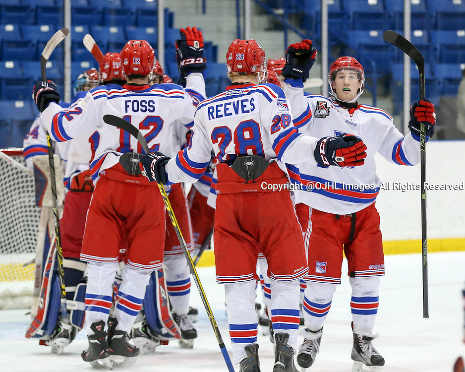 Oakville, ON - MAR 4, 2016  Ontario Junior Hockey League game action between St. Michael's and Oakville Blades at the Sixteen Mile Sports Complex Oakville, ON. Peyton Reeves #28 of the Oakville Blades celebrates the Blades 2-1 win over St. Michael's. <br /> (Photo by Kevin Sousa / OJHL Images)