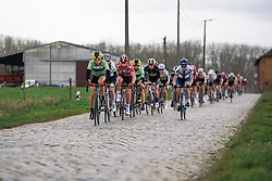 Sheyla Gutierrez leads the peloton overt the early cobbles - Pajot Hills Classic 2016, a 122km road race starting and finishing in Gooik, on March 30th, 2016 in Vlaams Brabant, Belgium.