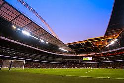 The sun sets over Wembley Stadium during Tottenham Hotspur v Watford in The Premier League - Mandatory by-line: Robbie Stephenson/JMP - 30/04/2018 - FOOTBALL - Wembley Stadium - London, England - Tottenham Hotspur v Watford - Premier League