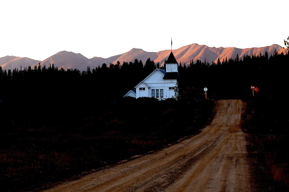 The town hall and church chapel sits at the only intersection in Tin Cup, a small mountian town in the Rocky Mountains of Colorado.