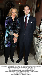 PRINCESS MICHAEL OF KENT and her son LORD FREDERICK WINDSOR, at a party in London on 3rd February 2004.PRG 209