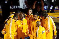 17 June 2010: The Los Angeles Lakers huddle up before playing the Boston Celtics before the Lakers 83-79 championship victory over the Celtics in Game 7 of the NBA Finals at the STAPLES Center in Los Angeles, CA.